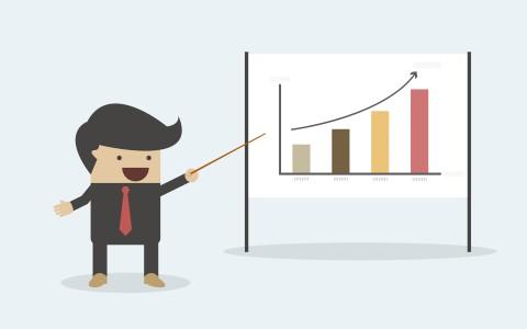 Micliente | una ilustración con un muñequito de un hombre vestido de negro con una corbata roja que sonríe mientras señala un panel con una gráfica