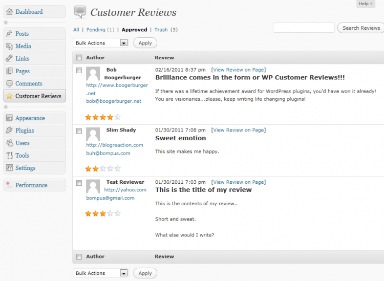 customer reviews plugin wordpress